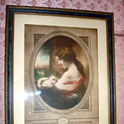 Vintage Madonna Color Etching By J.W. Hughes
