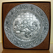 1985 Hallmark Christmas Pewter Plate With Box