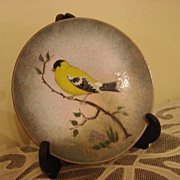 Vintage Enamel On Copper Bird Plate