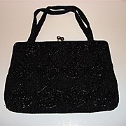 Vintage Black Beads Hand Bag Walborg Made In Belgium