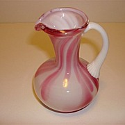 Italian Art Glass Pink & White Small Vase