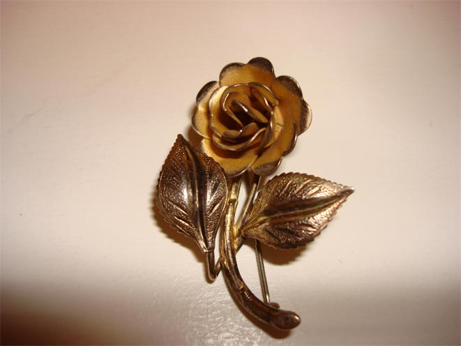 Sterling Vintage Yellow Rose Brooch Signed Bond Boyd