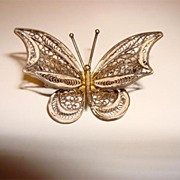 Vintage 800 Filigree Butterfly Brooch