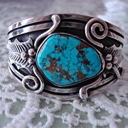 Superb Silver Cuff Bracelet With Kingman Turquoise Stone