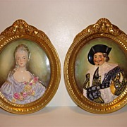 Gorgeous Antique Pair  Of Hand Painted Wedgwood & Co. Ltd Porcelain Plaques - England