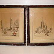Hand Colored French Lithographs-Paris Eglise Saint Severin And Paris La Tour St. Jacques