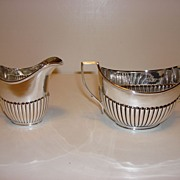 Early 20th Century English Silver Plate Sugar Bowl And Creamer by William Hutton & Son