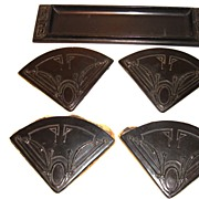Aronson Ronson Art Deco Metal Desk Set