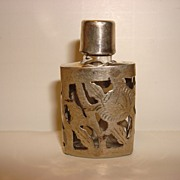 Small Perfume Bottle with Sterling Overlay
