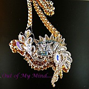 SOLD Queen of New Orleans ~ Out of My Mind Collage Necklace & Brooch