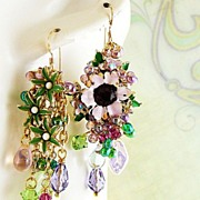SOLD Victorian Garden II ~ Out of My Mind Asymmetrical Earrings