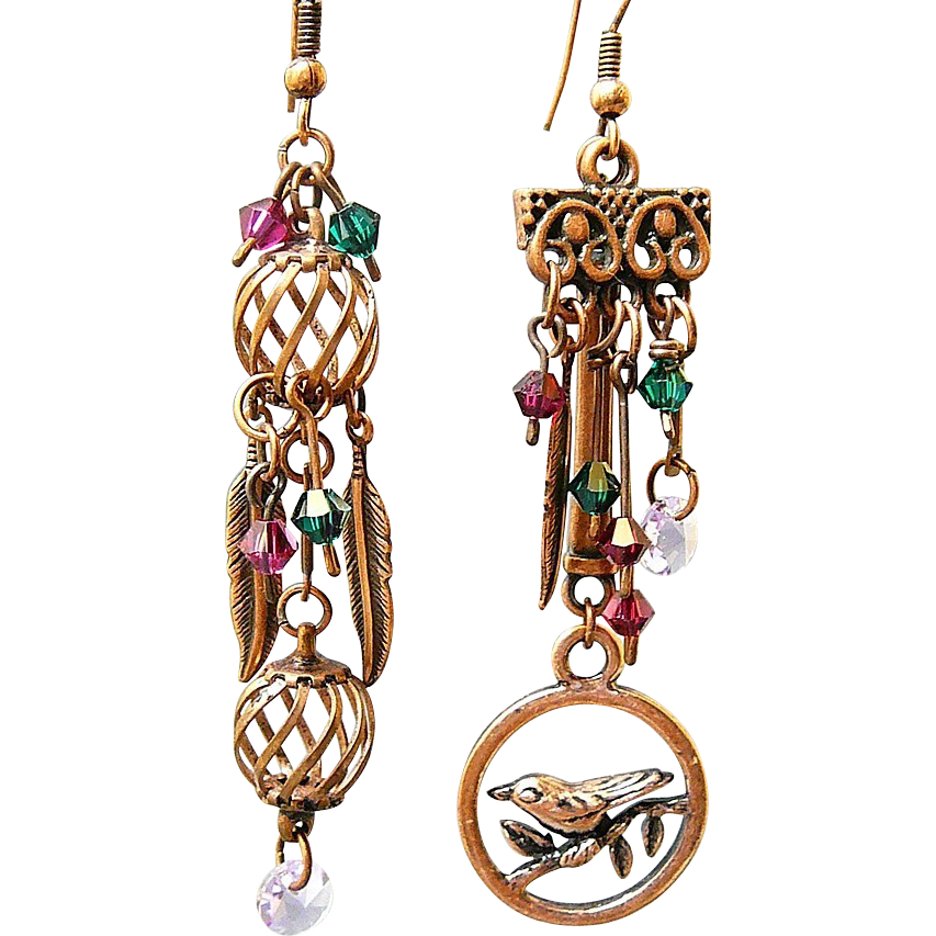 Free as a Bird ~ Out of My Mind Asymmetrical Earrings