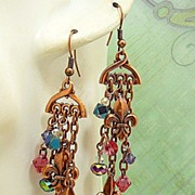 Copper Fleur de Lis ~ Out of My Mind Asymmetrical Earrings