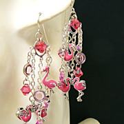 SOLD Flamingo Flair ~ Out of My Mind Asymmetrical Earrings