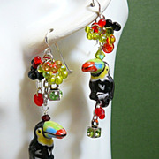 SOLD Toucan Treat ~ Out of My Mind Asymmetrical Earrings