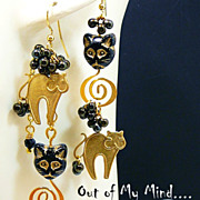 Brassy Cats ~ Out of My Mind Asymmetrical Earrings