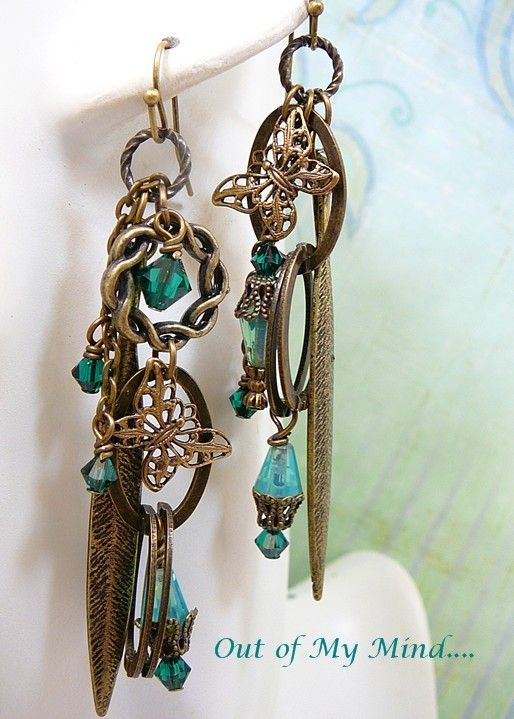Emerald Brass ~ Out of My Mind Asymmetrical Earrings