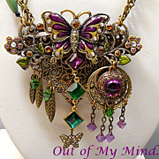 SOLD Butterfly Bliss ~ Out of My Mind Collage Necklace