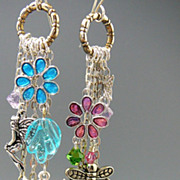 SOLD Water Color Gardens ~ Out of My Mind Asymmetrical Earrings
