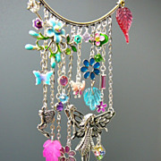 SOLD Water Color Fairy Gardens ~ Out of My Mind Charm Necklace