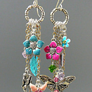 SOLD Water Color Gardens II ~ Out of My Mind Asymmetrical Earrings