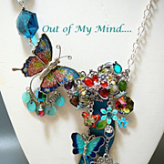 SOLD Sapphire Gardens ~ Out of My Mind Collage Necklace