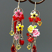 SOLD Ladybug Lush Gardens ~ Out of My Mind Asymmetrical Earrings