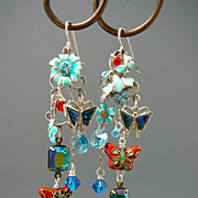 SOLD Sapphire Gardens ~ Out of My Mind Asymmetrical Earrings