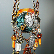 SALE PENDING Man in the Moon ~ Out of My Mind Assemblage Necklace