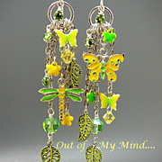Garden Green ~ Out of My Mind Asymmetrical Earrings