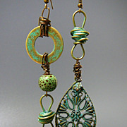Industrial Elegance ~ Out of My Mind Asymmetrical Assemblage Earrings