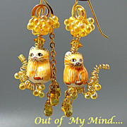 SOLD Cat Tails ~ Out of My Mind Earrings