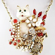 SOLD Owl & The Pussycat ~ Out of My Mind Collage Necklace~Broach