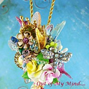 SOLD Mini Floral Collage ~ Out of My Mind Necklace~Brooch