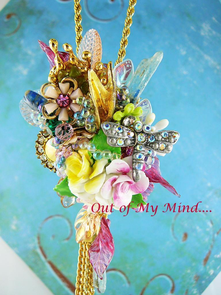 Mini Floral Collage ~ Out of My Mind Necklace~Brooch