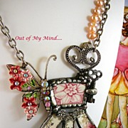 SOLD Butterfly in My Garden ~ Out of My Mind Collage Necklace