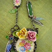 SOLD My English Garden ~ Out of My Mind Collage Necklace