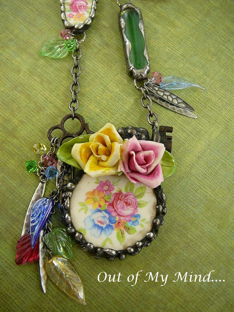 My English Garden ~ Out of My Mind Collage Necklace