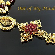 SOLD Ruby Red Vintage ~ Out of My Mind Collage Necklace