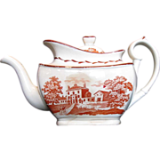 English Teapot, Orange Bat Print,  Antique Staffordshire c1820