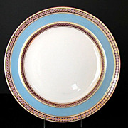 Minton Dinner Plate, Turquoise Blue & Pink, Antique 19th C English, A6890