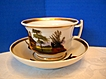 Old Paris Porcelain Cup & Saucer, HandPainted Scenes, Antique 19thC