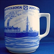 SALE Steamship China Cup, Hapag, Hutschenreuther, Germany WW II
