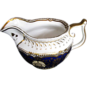 Yates Porcelain Creamer, Mazarine Blue, Heavily Gilded,  Antique 19thC English Porcelain