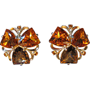 Schiaparelli Earrings, Large Topaz & Citrine Faux Stones, Clip, Patented