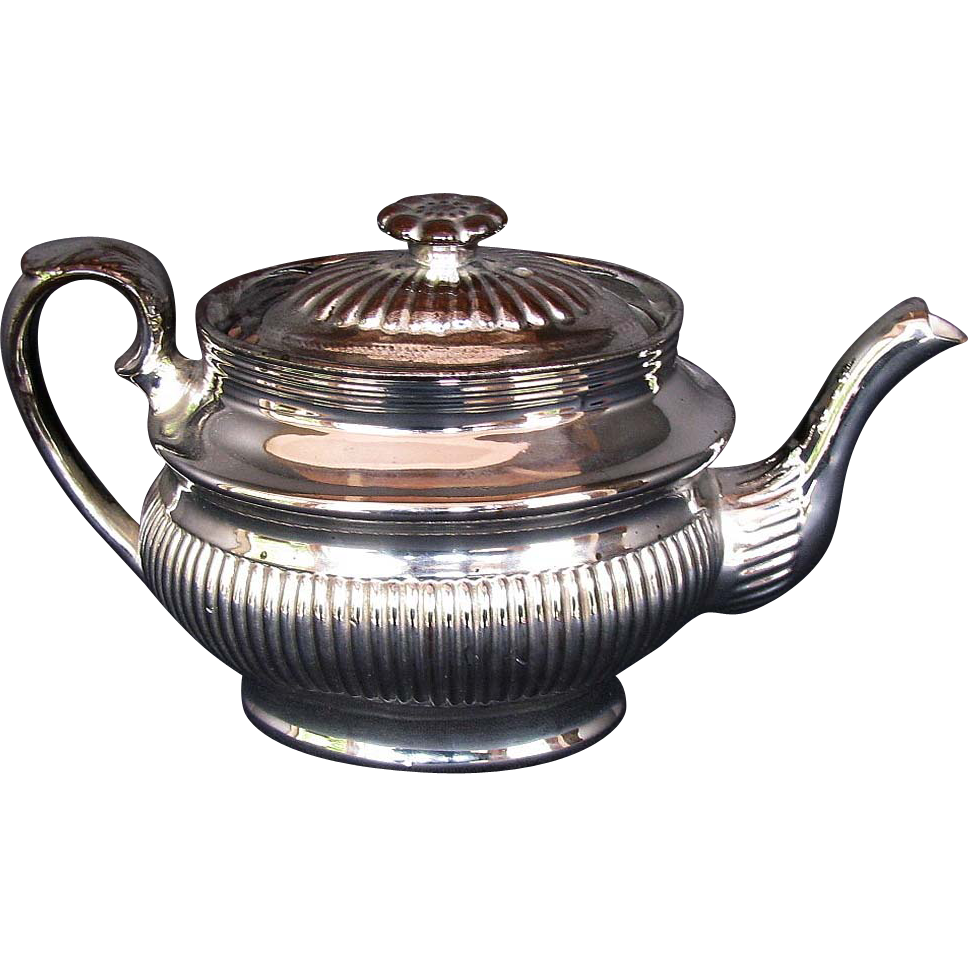 English Silver Lustre Teapot, Antique, Early 19thC Pottery