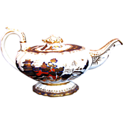 Rare C.J.  Mason Bone China Teapot,  Blue, Red & Gilt, Chinoiserie, Antique c1835