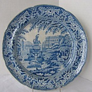 C.J. Mason Pearlware Plate, Blue Transferware, Trentham Hall,  Hercules Fountain, Antique 19th