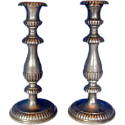 SALE Pewter Candlesticks, Pair, Antique 19thC American