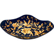 SALE Rudolf Ditmar Majolica Lozenge Shaped Bowl, Cobalt/Gold, Antique 19thC Austrian